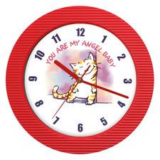 Zegar ścienny kolor zalotny kotek