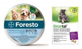 Pakiet Foresto dla Psa poniżej 8 kg + Bayer Drontal Dog Flavour 2 Tabletki