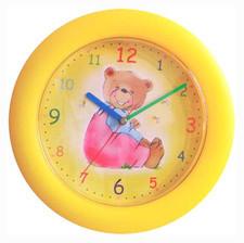 Zegar ścienny kolorowy siedzący miś