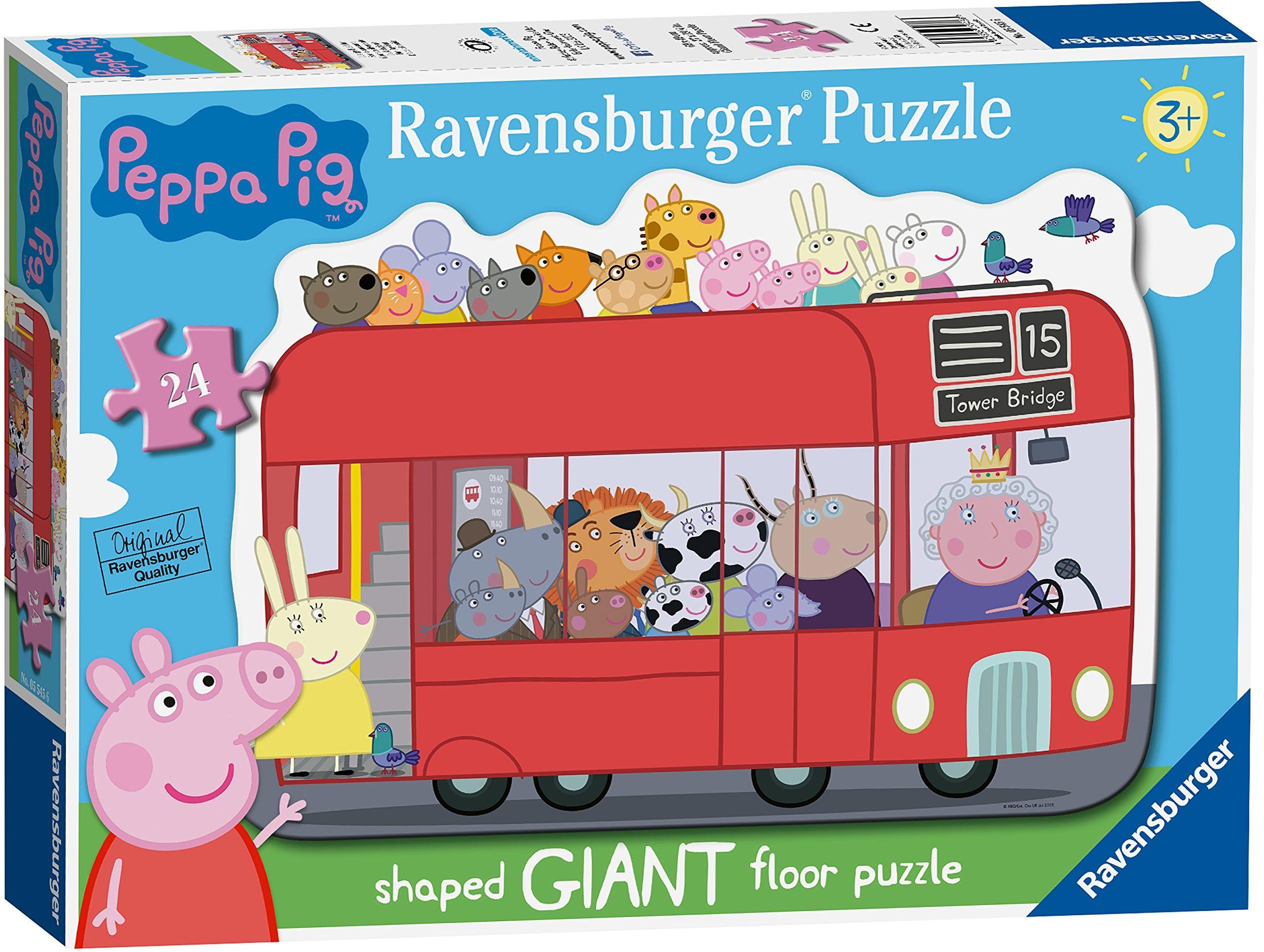 Ravensburger Świnka Peppa Londyn czerwony autobus 24-częściowy gigantyczny kształt puzzle podłogowe dla dzieci w wieku od 3 lat