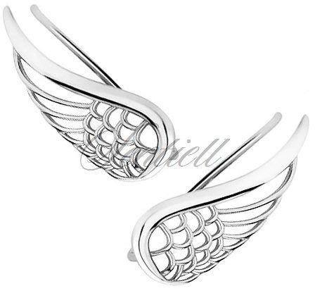 Srebrne kolczyki nausznice - skrzydła - rodowanie
