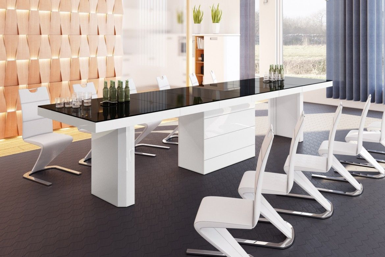 Stół rozkładany Kolos 140 czarno-biały wysoki połysk