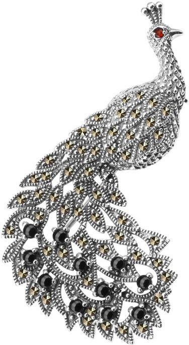 Staviori broszka/wisiorek paw w koronie. markazyty. onyks. granat. srebro rodowane 0,925. wymiary 29x59 mm. może być używana jako wisiorek.