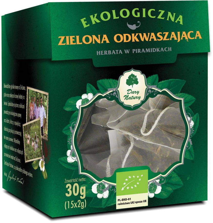 Herbata zielona odkwaszająca piramidki bio 15 x 2 g - dary natury