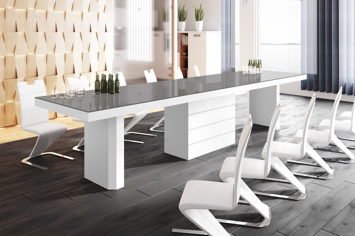 Stół rozkładany Kolos 140 szaro-biały wysoki połysk