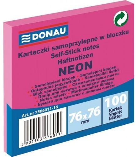 Karteczki samoprzylepne DONAU 76x76mm neonowy różowy (100k) 7586011-16