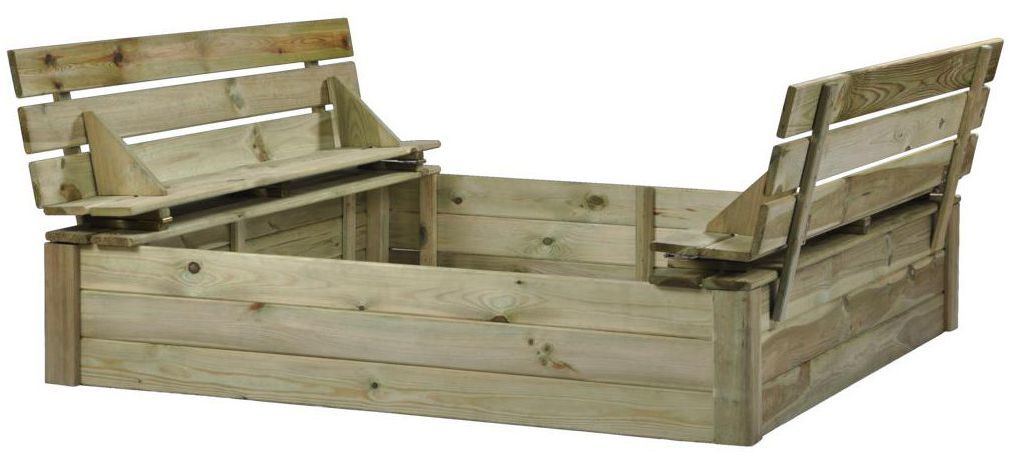Piaskownica drewniana 140 x 140 x 28.6 cm zamykana z pokrywą i ławeczkami TOM SOBEX