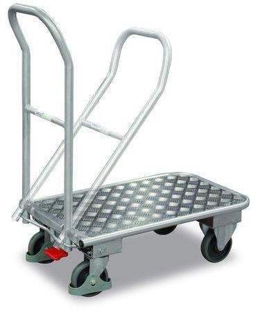 Aluminiowy wózek magazynowy ze składanym uchwytem, 720x450 mm