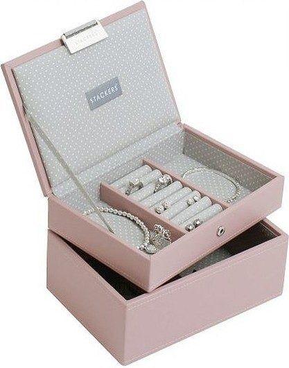 Szkatułka na biżuterię stackers podwójna mini różowa