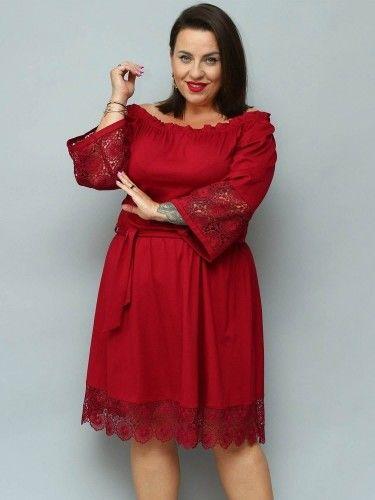 Sukienka hiszpanka TONIA gumeczka i gipiura bordowa
