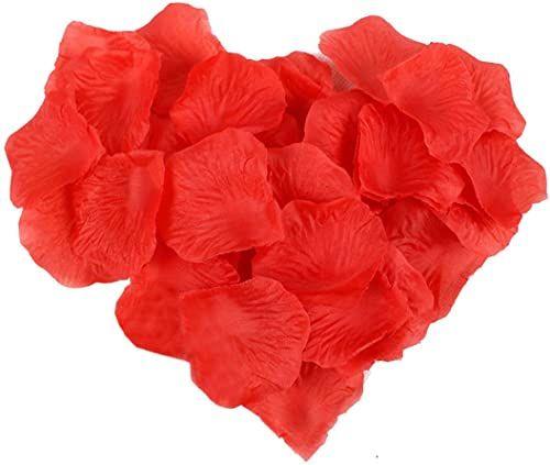 JJ PRIME JJOnlineStore - 1000 szt. sztuczne jedwabne róże - konfetti sztuczne kwiaty płatków róż - do romantycznych dekoracji ślubnych, rocznicy, oświadczyny (czerwony, 5 x 5 cm)