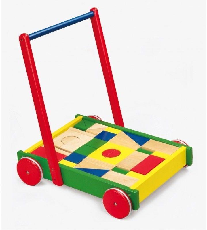 Drewniany Wózek Chodzik Pchacz dla dzieci z klockami Viga Toys