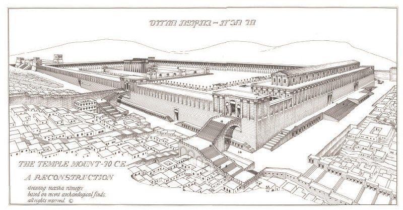 Plakat Wzgórze Świątynne z czasów Jezusa zach-płd