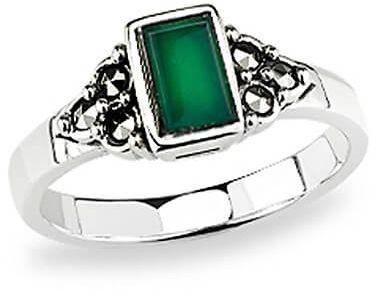 Staviori pierścionek. agat. markazyty. srebro 0,925. korona 8x5 mm. szerokość obrączki ok. 3 mm.