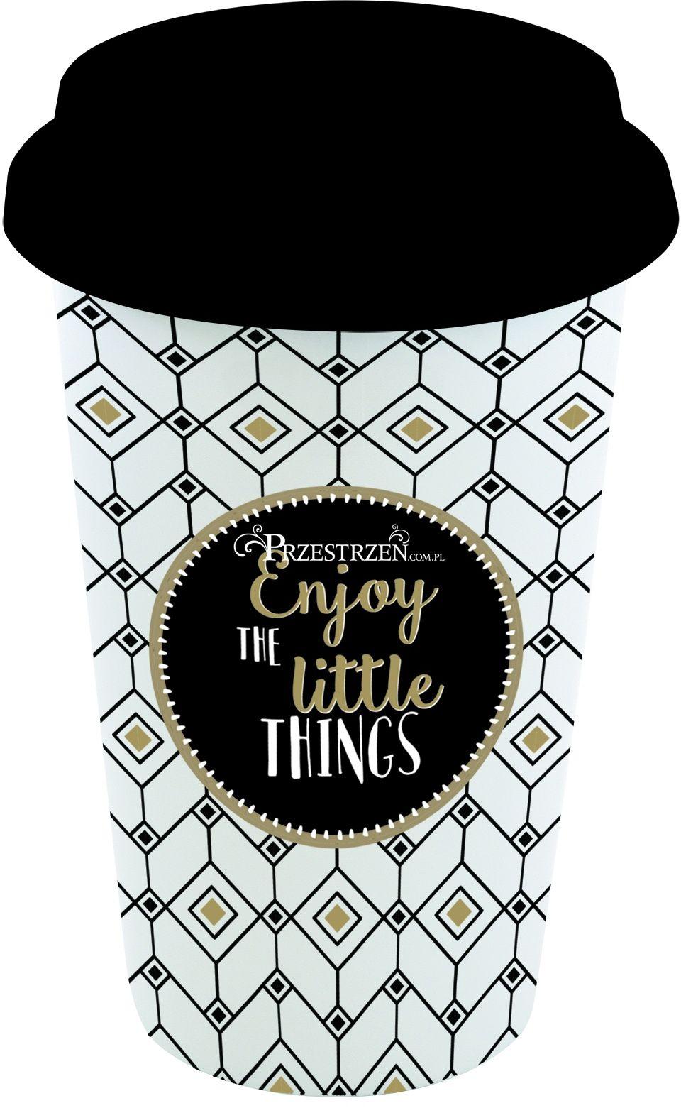 PORCELANOWY KUBEK PODRÓŻNY Z POKRYWKĄ - Enjoy the little things