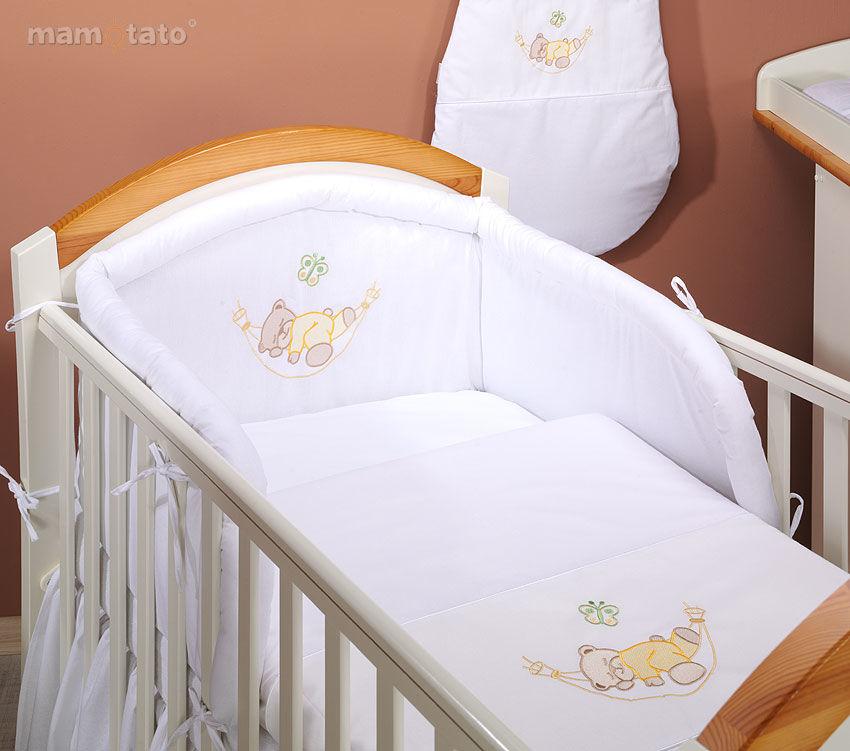 MAMO-TATO pościel 2-el Miś w hamaku w bieli do łóżeczka 70x140cm