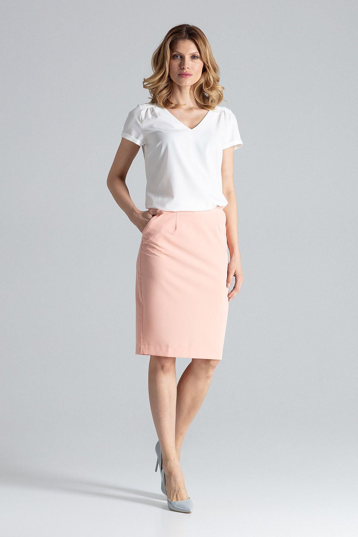 Elegancka spódnica tuba przed kolano - różowy