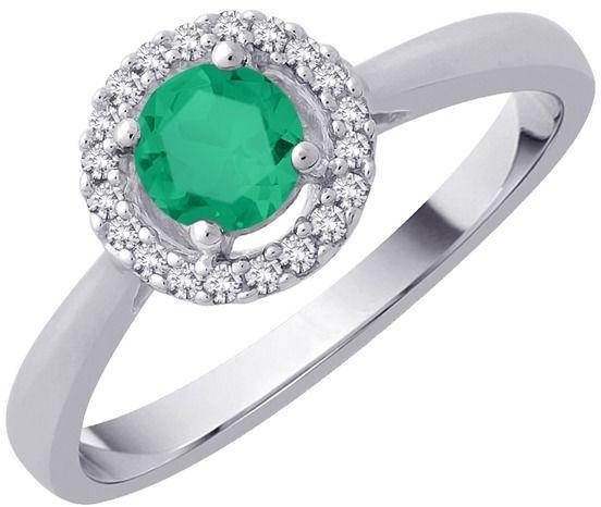 Staviori pierścionek. 16 diamentów, szlif brylantowy, masa 0,10 ct., barwa h, czystość si2. 1 szmaragd, masa 0,30 ct.. białe złoto 0,585. średnica korony ok. 6,5 mm.