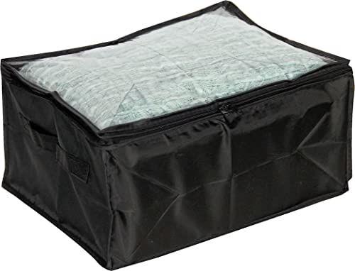 Mondex EVE734-01 pudełko do przechowywania z uchwytami/oknami, tkanina, tworzywo sztuczne, model S, czarne, tworzywo sztuczne, 40 x 30 x 20 cm
