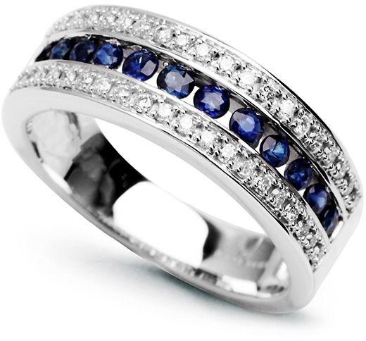 Staviori pierścionek. 36 diamentów, szlif brylantowy, masa 0,30 ct., barwa h, czystość i1. 12 szafirów, szlif brylantowy, masa 0,45 ct.. białe złoto 0,585. szerokość obrączki ok. 6 mm.