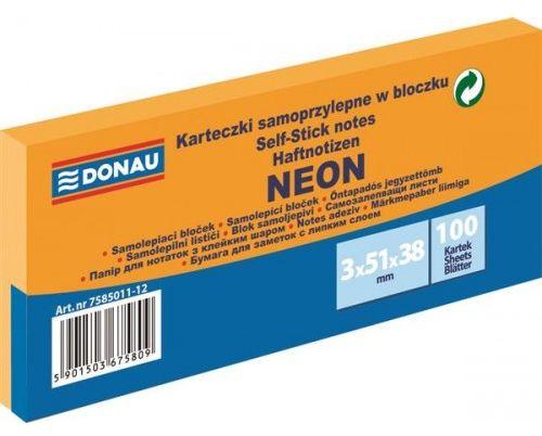 Karteczki samoprzylepne DONAU 38x51mm neonowy pomarańczowy (3szt) 7585011-12