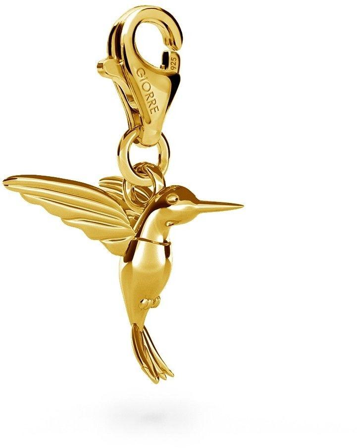 Koliber srebrny charms zawieszka beads, srebro 925 : Srebro - kolor pokrycia - Pokrycie żółtym 18K złotem, Wariant - Charms