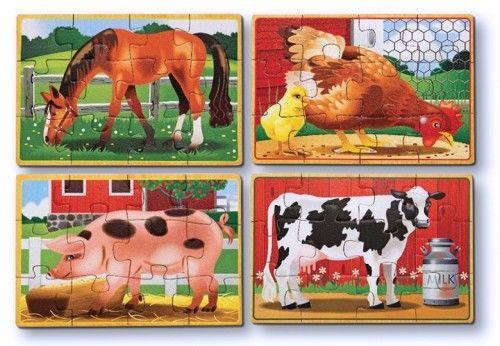 Zestaw puzzli Wiejskie zwierzęta 4 obrazki