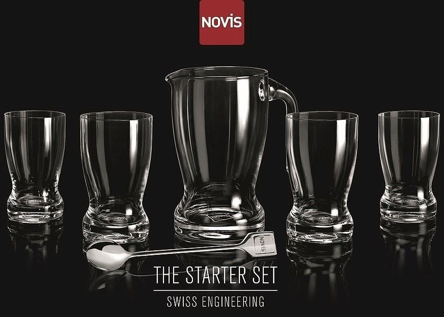 NOVIS - Zestaw 4 szklanek + dzbanek z mieszadełkiem --- OFICJALNY SKLEP Novis