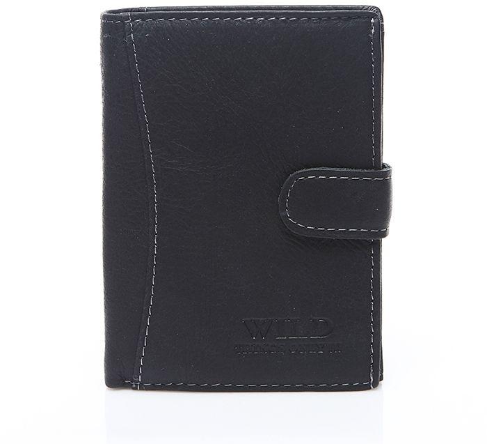 Duży portfel skórzany męski czarny Wild G90
