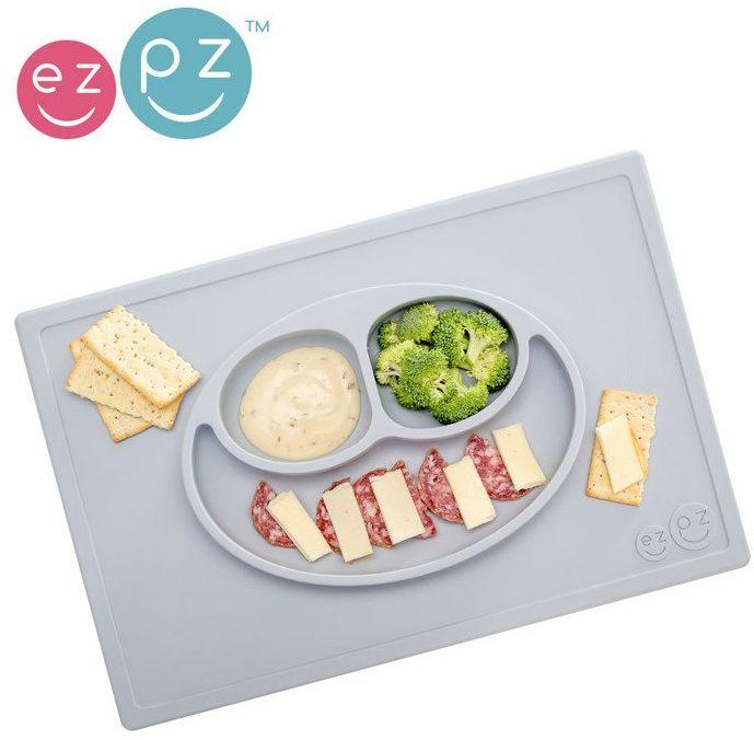 EZPZ Silikonowy talerzyk z podkładką 2w1 Happy Mat pastelowa szarość EUHMP003- EZPZ, naczynia dla dzieci
