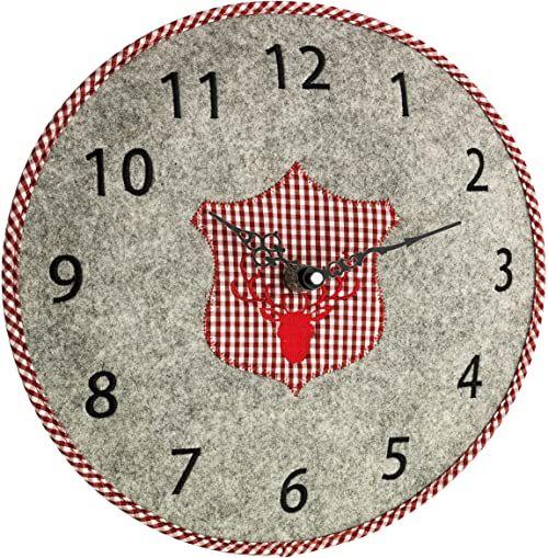 TFA Dostmann analogowy zegar ścienny z filcu, szary/czerwony, dł. 361 x szer. 365 x wys. 53 mm