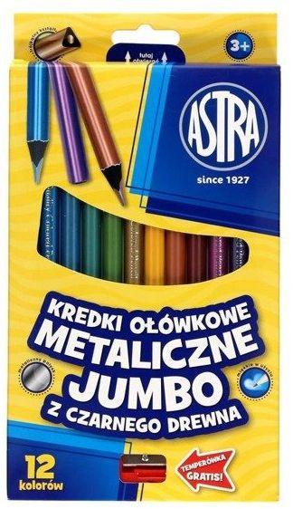 Kredki ołówkowe metaliczne czar.Jumbo 12kol. ASTRA - ASTRA papiernicze