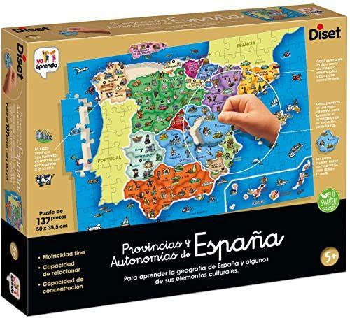 Diset Prowincje edukacyjne i regiony Hiszpanii wielokolorowe