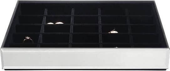 Szkatułka na biżuterię stackers 25 komorowa classic velvet szklana z czarną wyściółką