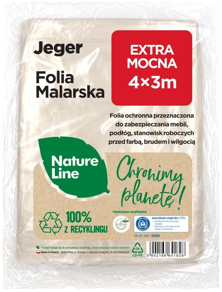 Folia malarska Nature Line Extra mocna 4 x 3 m Jeger