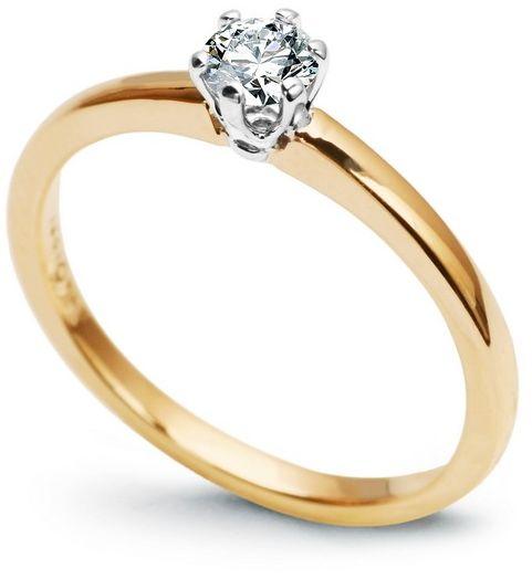 Staviori pierścionek. 1 diament, szlif brylantowy, masa 0,25 ct., barwa g, czystość si1. żółte, białe złoto 0,585. średnica korony ok. 4,9 mm. wysokość 4,7 mm. szerokość obrączki ok. 1,80 mm.