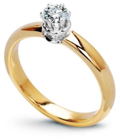 Staviori pierścionek. 1 diament, szlif brylantowy, masa 0,25 ct., barwa g, czystość si1. żółte, białe złoto 0,750. średnica korony ok. 4 mm. szerokość obrączki ok. 2,80 mm. dostępny z dowolnym innym brylantem na indywidualne zamówienie.