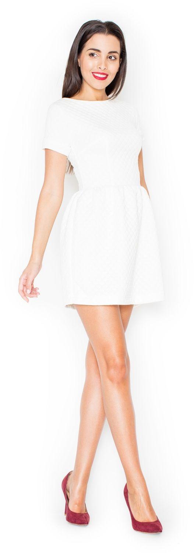 Ecru pikowana sukienka z krótkim rękawem