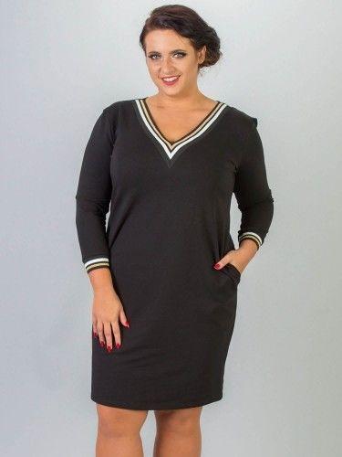 Sukienka dresowa ze ściągaczami plus size AGATA czarna ze złotym paseczkiem PROMOCJA