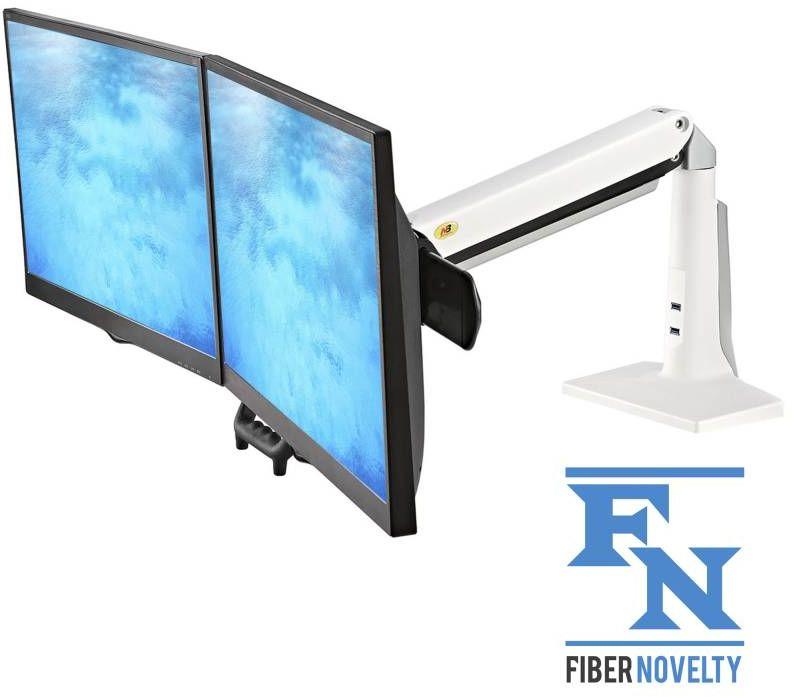 """F27W - obrotowy uchwyt do Dwóch Monitorów LCD LED 22""""-27"""" Płynna Regulacja Porty USB"""