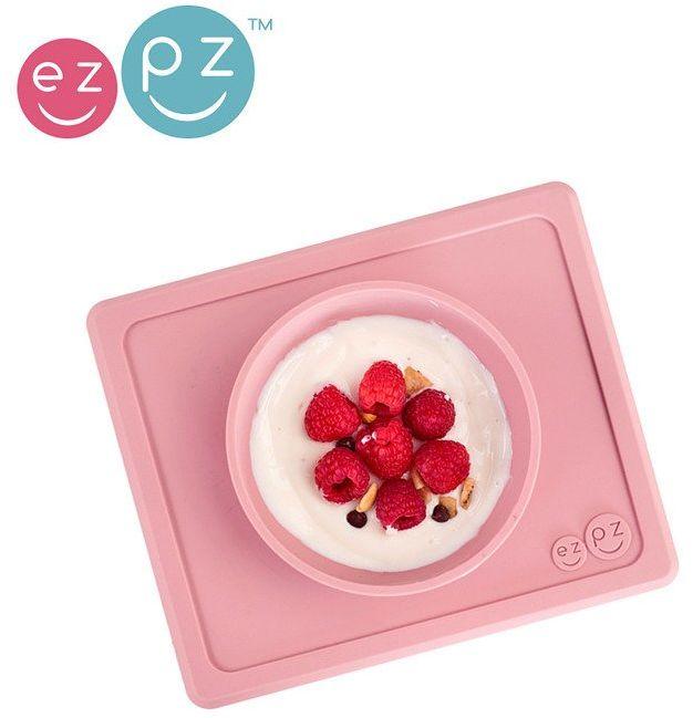 EZPZ Silikonowa miseczka z podkładką 2w1 Mini Bowl pastelowy róż EUMBB005- EZPZ, naczynia dla dzieci
