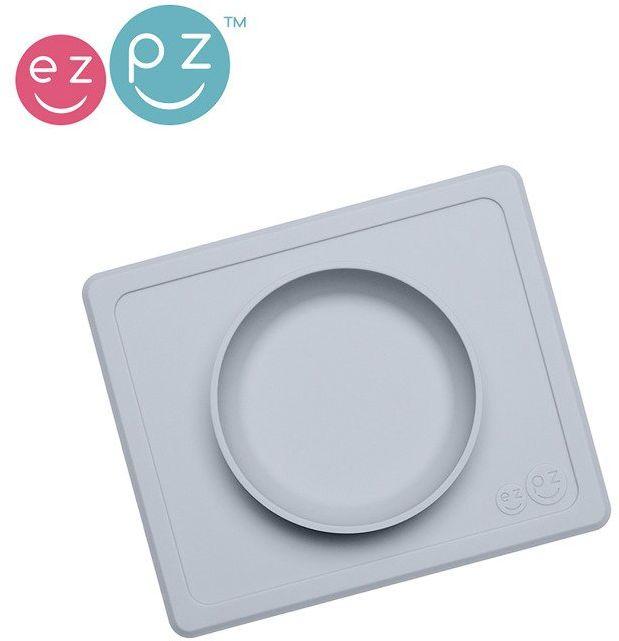 EZPZ Silikonowa miseczka z podkładką 2w1 Mini Bowl pastelowa szarość EUMBP003- EZPZ, naczynia dla dzieci