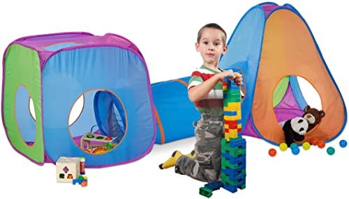 Relaxdays Namiot do zabawy, tunel dla dzieci, namiot dla dzieci Pop Up z tunelem do raczkowania, zestaw na zewnątrz, wys. x szer. x gł.: 100 x 265 x 90 cm, kolorowy