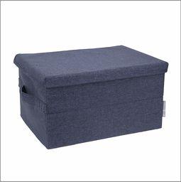 Bigso Box of Sweden Średniej wielkości pudełko do przechowywania z pokrywką i uchwytem  szafka z poliestru i kartonu o wyglądzie lnu  składane pudełko na ubrania, pościel, zabawki itd.  niebieskie