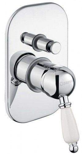 KIRKÉ podtynkowa bateria prysznicowa 2 wyjścia biały uchwyt chrom styl RETRO