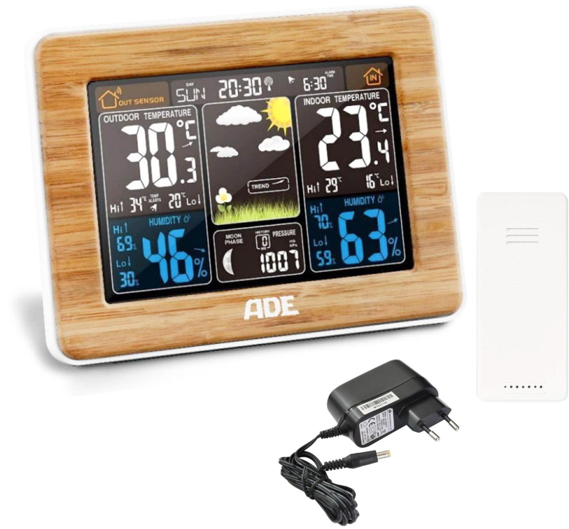 ADE WS1703 Drewniana stacja pogody z zasilaniem sieciowym