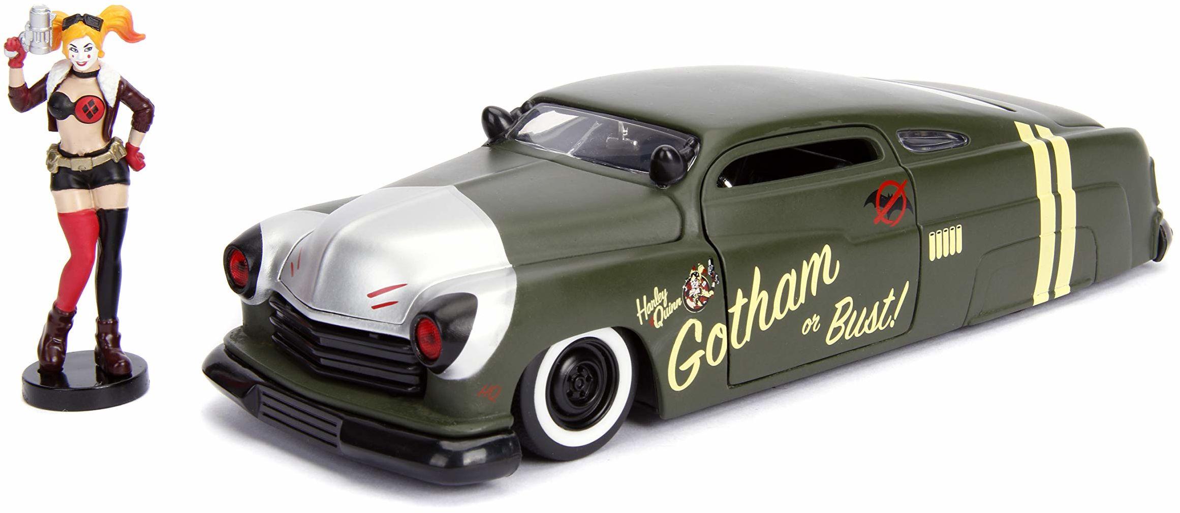 Jada Toys 253255005 DC Comics Bombshells, 1951 Mercury, samochód zabawkowy z Die-cast, drzwi, bagażnik i maska silnika do otwierania, w zestawie figurka Harley Quinn, skala 1:24, czarna, szara