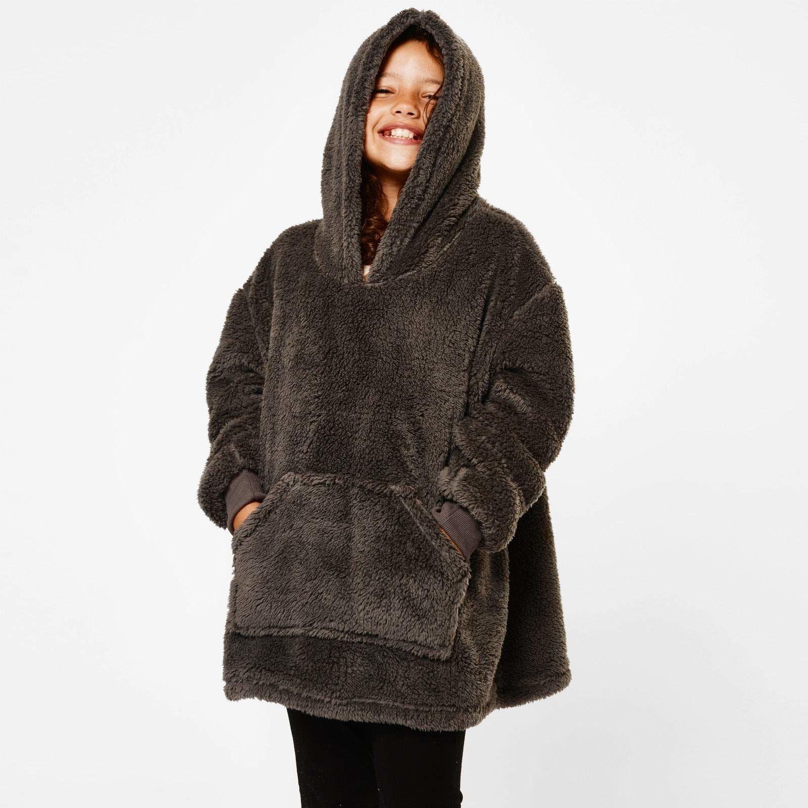 Brentfords Miś polarowy koc z kapturem do noszenia miękki ciepły puszysty ponadwymiarowy termiczny narzuta koc z kapturem dla dzieci, jeden rozmiar, ciemny szary - dzieci