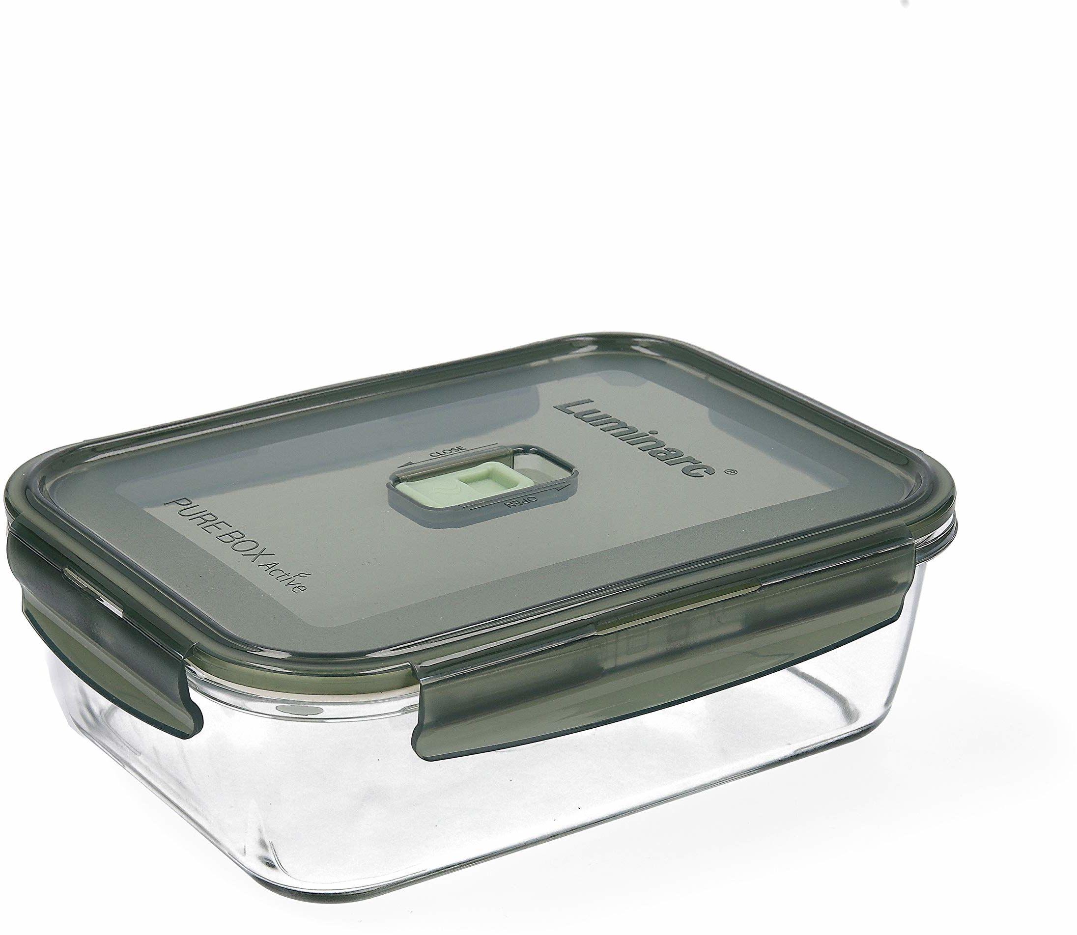 Luminarc Pure Box Active pojemnik na żywność ze szkła, prostokątny, 190 ml, oliwkowo-zielony