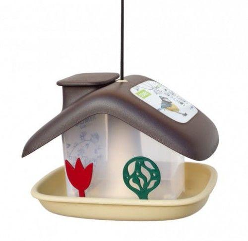 Domek karmnik dla ptaków, 21x17 cm tworzywo, Brązowy